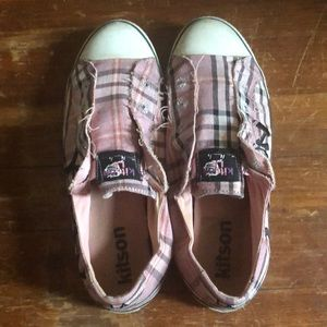 Kitson plaid pink slip on sneakers